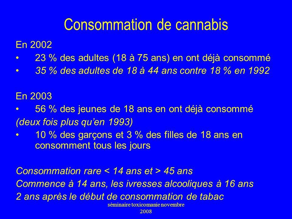 Consommation de cannabis En 2002 23 % des adultes (18 à 75 ans) en ont déjà consommé 35 % des adultes de 18 à 44 ans contre 18 % en 1992 En 2003 56 %