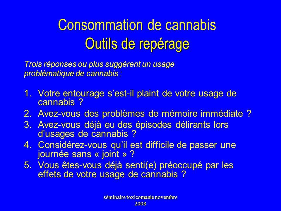 Outils de repérage Consommation de cannabis Outils de repérage Trois réponses ou plus suggèrent un usage problématique de cannabis : 1.Votre entourage