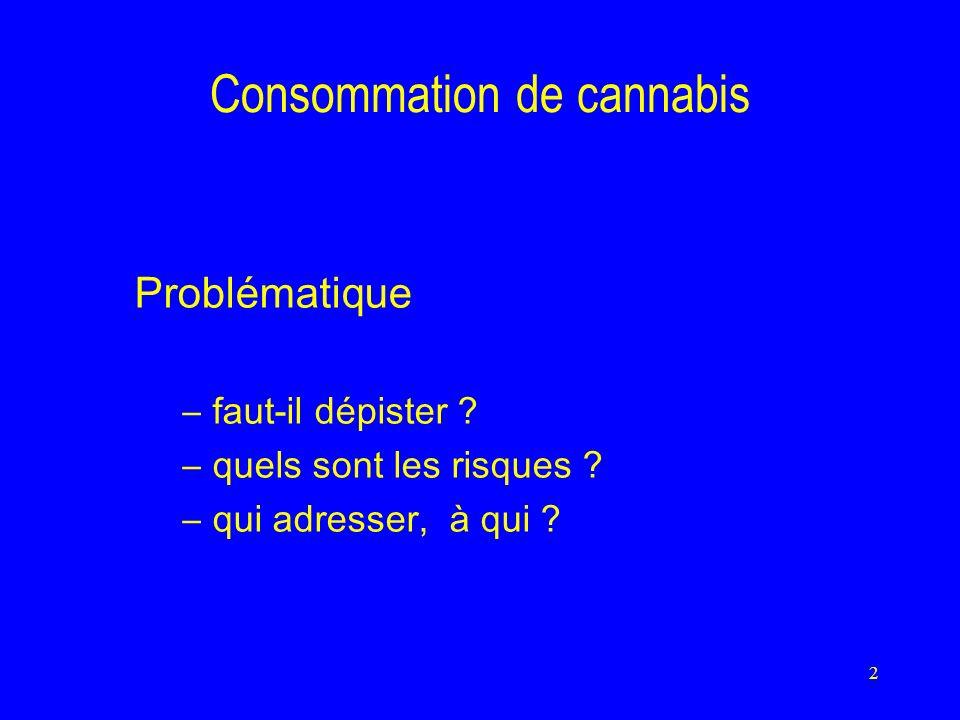 2 Consommation de cannabis Problématique –faut-il dépister .