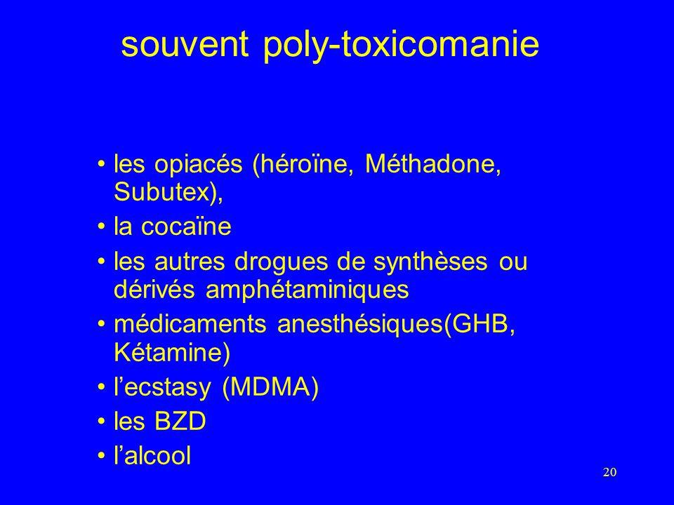 20 souvent poly-toxicomanie les opiacés (héroïne, Méthadone, Subutex), la cocaïne les autres drogues de synthèses ou dérivés amphétaminiques médicaments anesthésiques(GHB, Kétamine) lecstasy (MDMA) les BZD lalcool