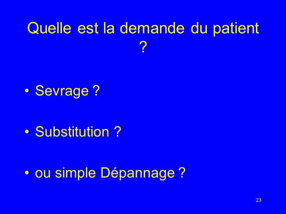 23 Quelle est la demande du patient Sevrage Substitution ou simple Dépannage