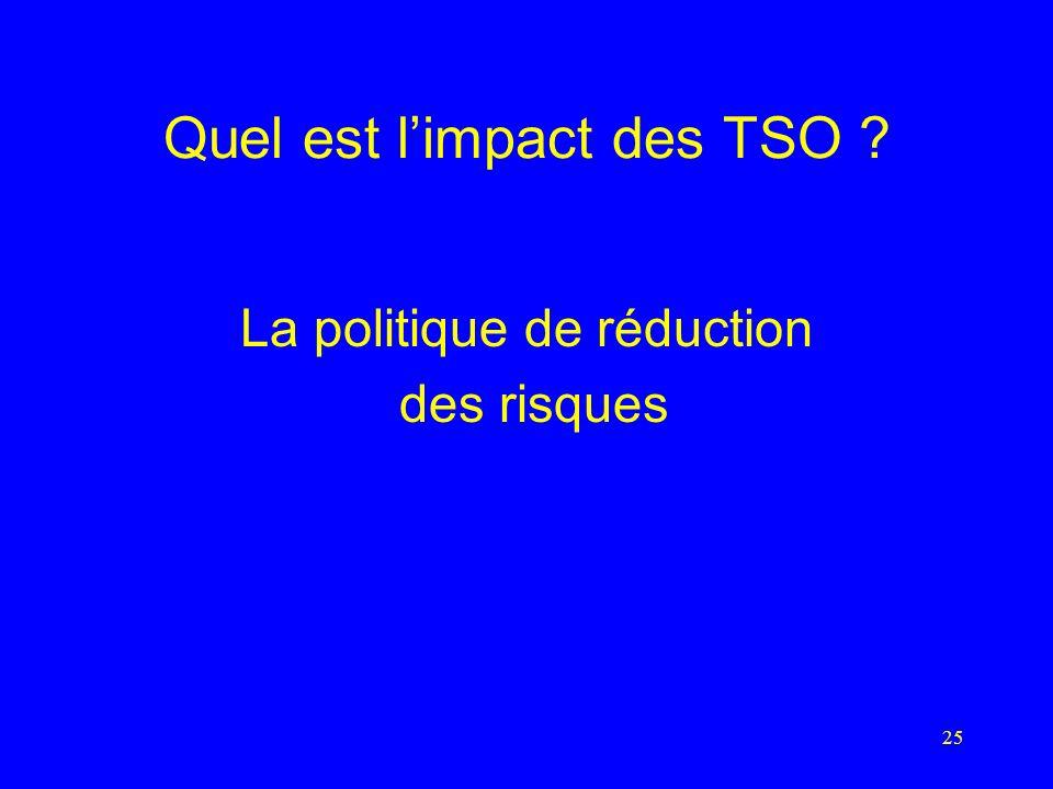 25 Quel est limpact des TSO La politique de réduction des risques