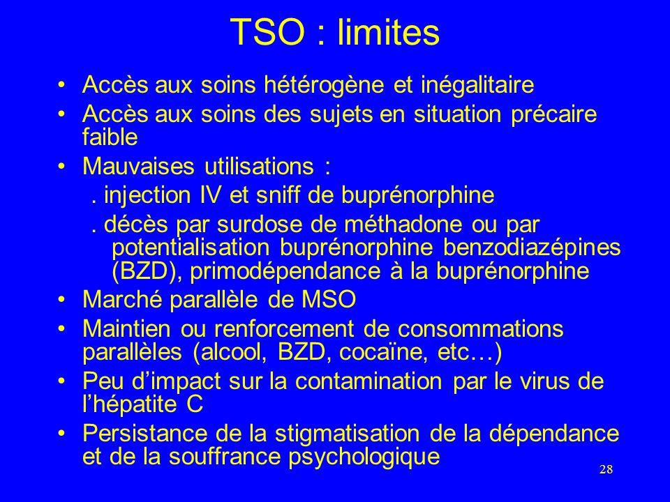 28 TSO : limites Accès aux soins hétérogène et inégalitaire Accès aux soins des sujets en situation précaire faible Mauvaises utilisations :.