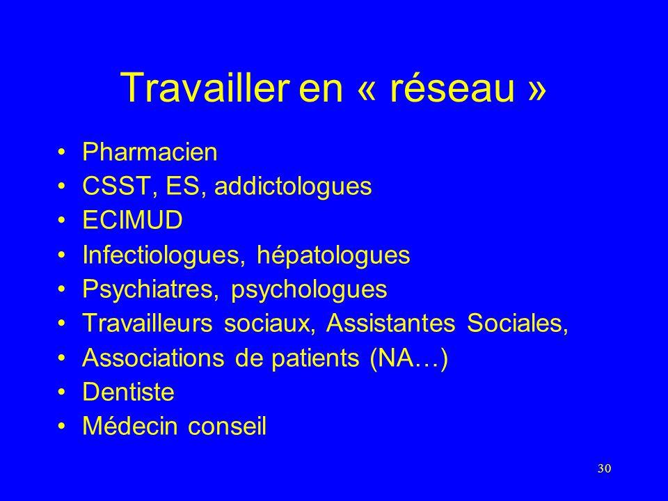 30 Travailler en « réseau » Pharmacien CSST, ES, addictologues ECIMUD Infectiologues, hépatologues Psychiatres, psychologues Travailleurs sociaux, Assistantes Sociales, Associations de patients (NA…) Dentiste Médecin conseil