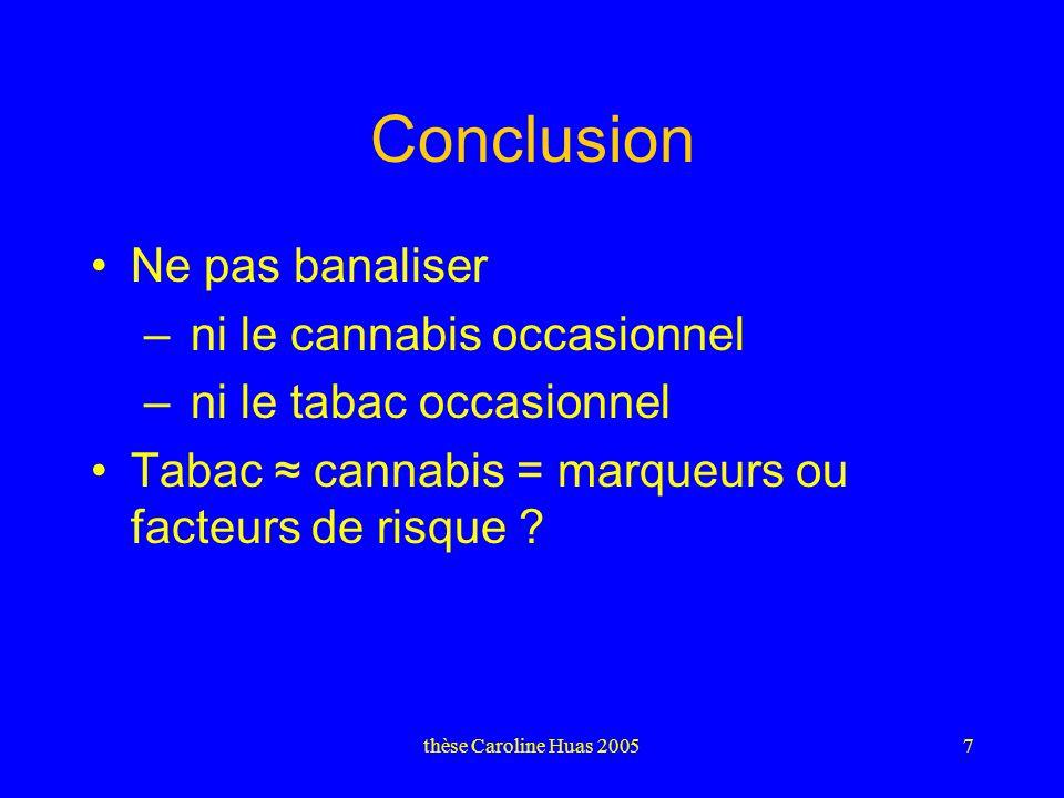 thèse Caroline Huas 20057 Conclusion Ne pas banaliser – ni le cannabis occasionnel – ni le tabac occasionnel Tabac cannabis = marqueurs ou facteurs de risque