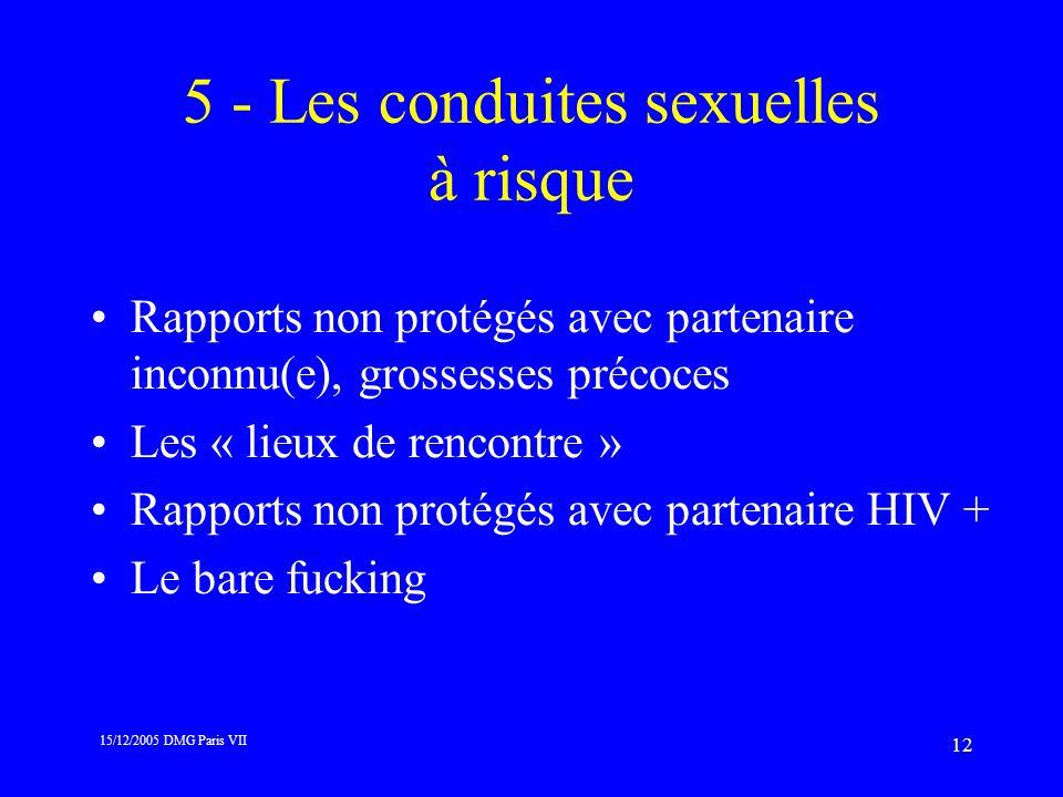 15/12/2005 DMG Paris VII 12 5 - Les conduites sexuelles à risque Rapports non protégés avec partenaire inconnu(e), grossesses précoces Les « lieux de