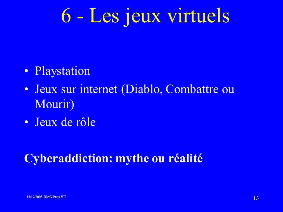 15/12/2005 DMG Paris VII 13 6 - Les jeux virtuels Playstation Jeux sur internet (Diablo, Combattre ou Mourir) Jeux de rôle Cyberaddiction: mythe ou ré