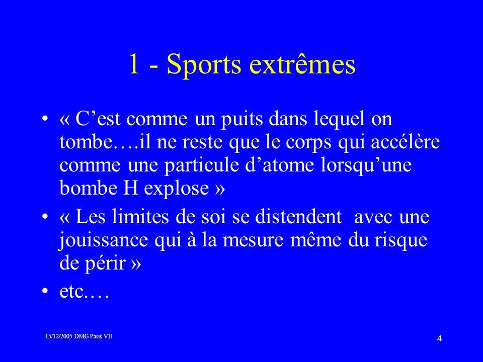 15/12/2005 DMG Paris VII 4 1 - Sports extrêmes « Cest comme un puits dans lequel on tombe….il ne reste que le corps qui accélère comme une particule d