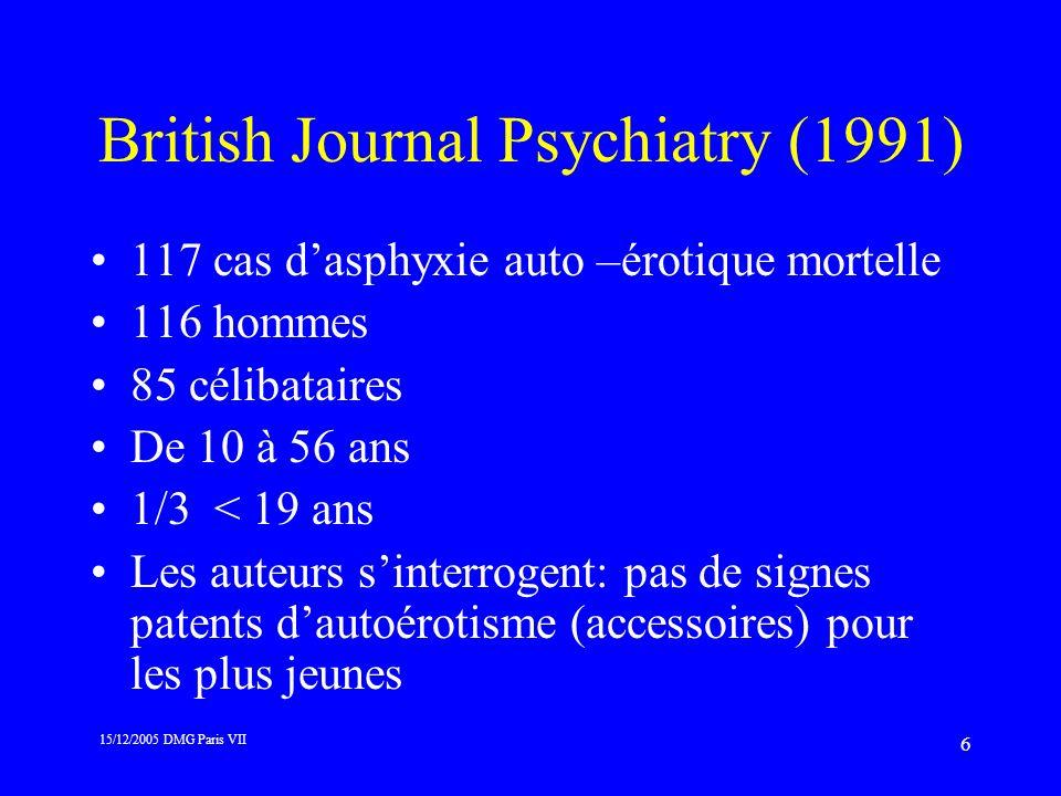 15/12/2005 DMG Paris VII 6 British Journal Psychiatry (1991) 117 cas dasphyxie auto –érotique mortelle 116 hommes 85 célibataires De 10 à 56 ans 1/3 <
