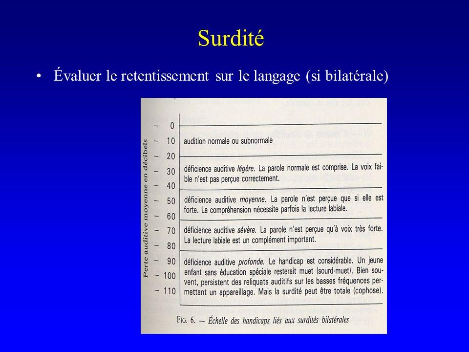 Surdité Évaluer le retentissement sur le langage (si bilatérale)