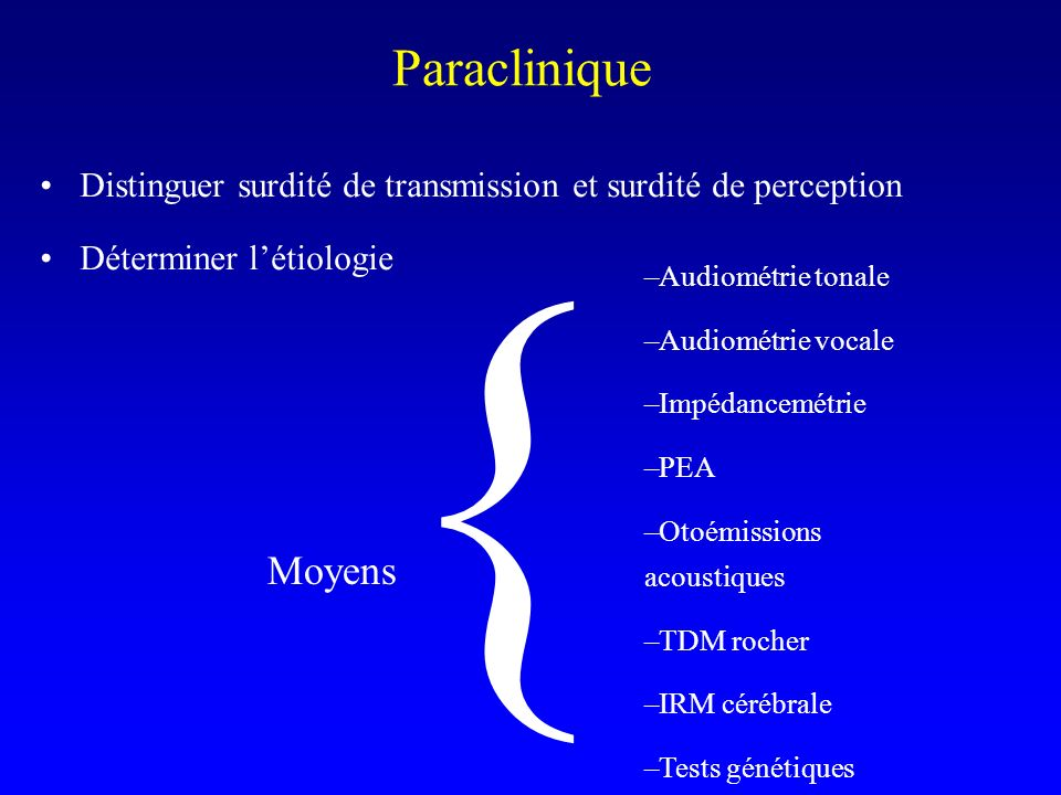 Distinguer surdité de transmission et surdité de perception Déterminer létiologie Paraclinique –Audiométrie tonale –Audiométrie vocale –Impédancemétri