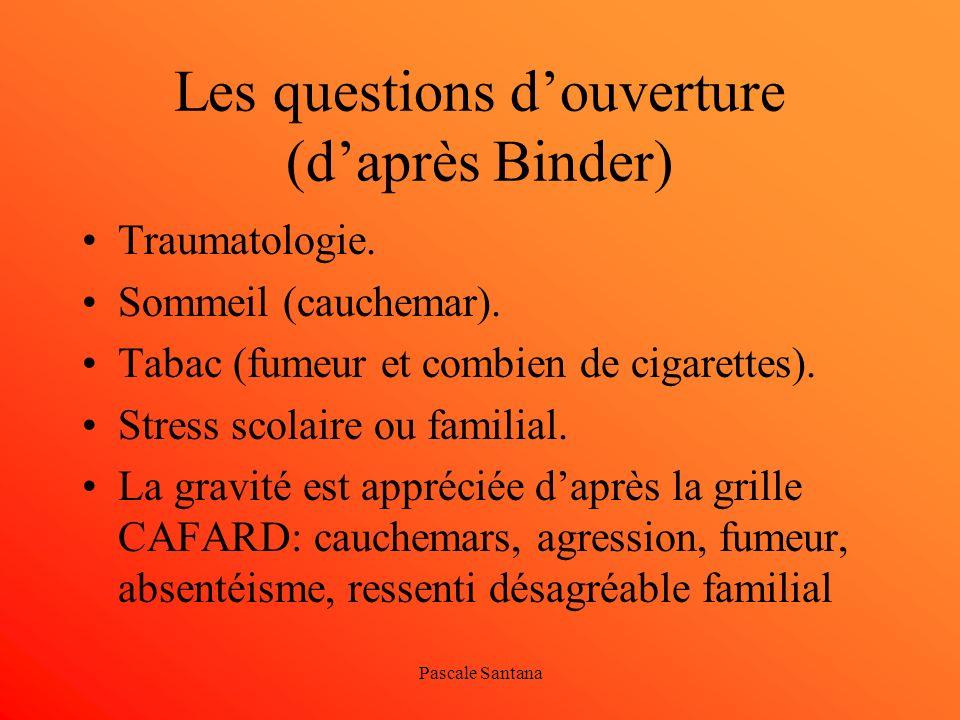 Pascale Santana Les questions douverture (daprès Binder) Traumatologie. Sommeil (cauchemar). Tabac (fumeur et combien de cigarettes). Stress scolaire