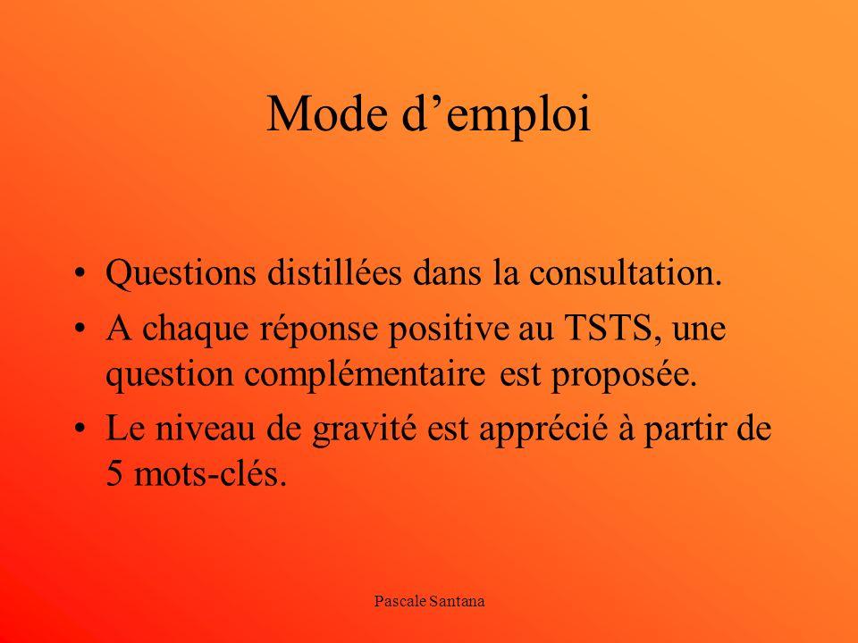 Pascale Santana Mode demploi Questions distillées dans la consultation. A chaque réponse positive au TSTS, une question complémentaire est proposée. L