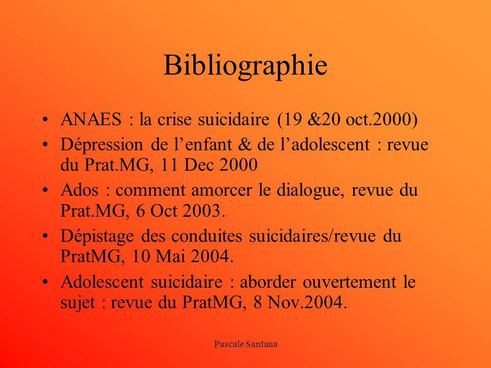 Pascale Santana Bibliographie ANAES : la crise suicidaire (19 &20 oct.2000) Dépression de lenfant & de ladolescent : revue du Prat.MG, 11 Dec 2000 Ado
