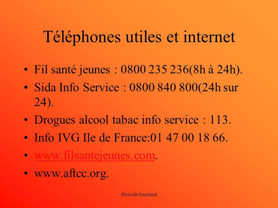 Pascale Santana Téléphones utiles et internet Fil santé jeunes : 0800 235 236(8h à 24h). Sida Info Service : 0800 840 800(24h sur 24). Drogues alcool