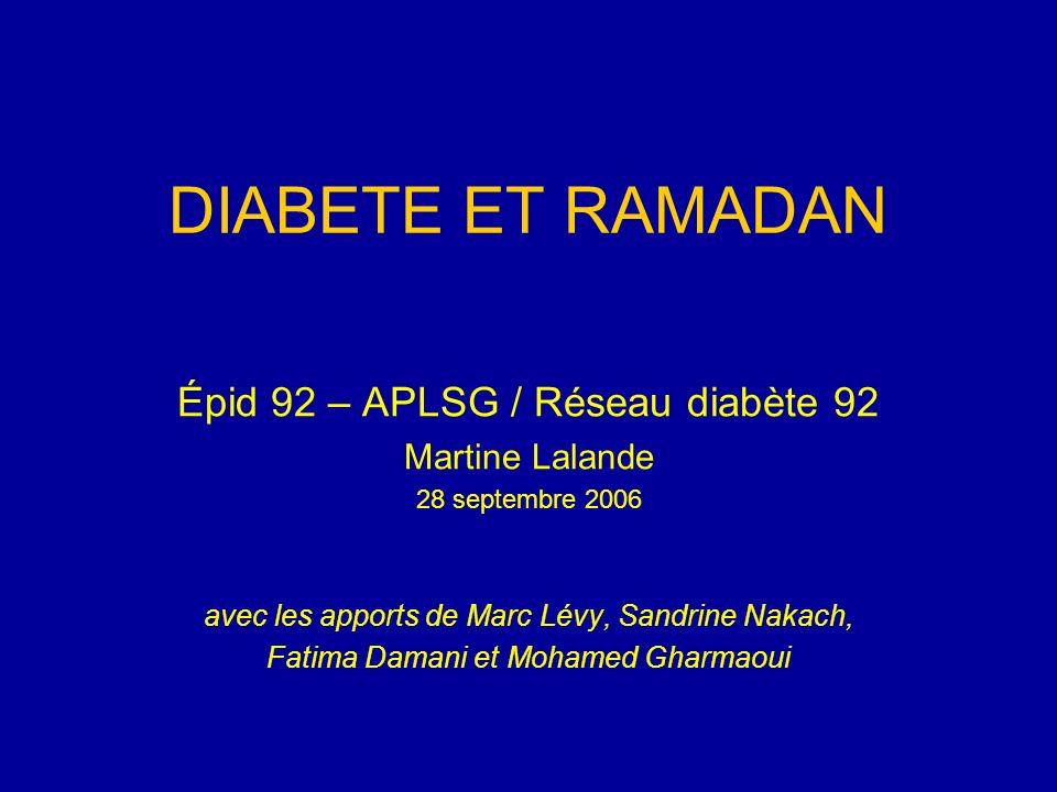 DIABETE ET RAMADAN Épid 92 – APLSG / Réseau diabète 92 Martine Lalande 28 septembre 2006 avec les apports de Marc Lévy, Sandrine Nakach, Fatima Damani