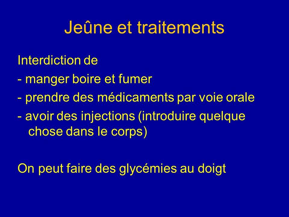 Jeûne et traitements Interdiction de - manger boire et fumer - prendre des médicaments par voie orale - avoir des injections (introduire quelque chose