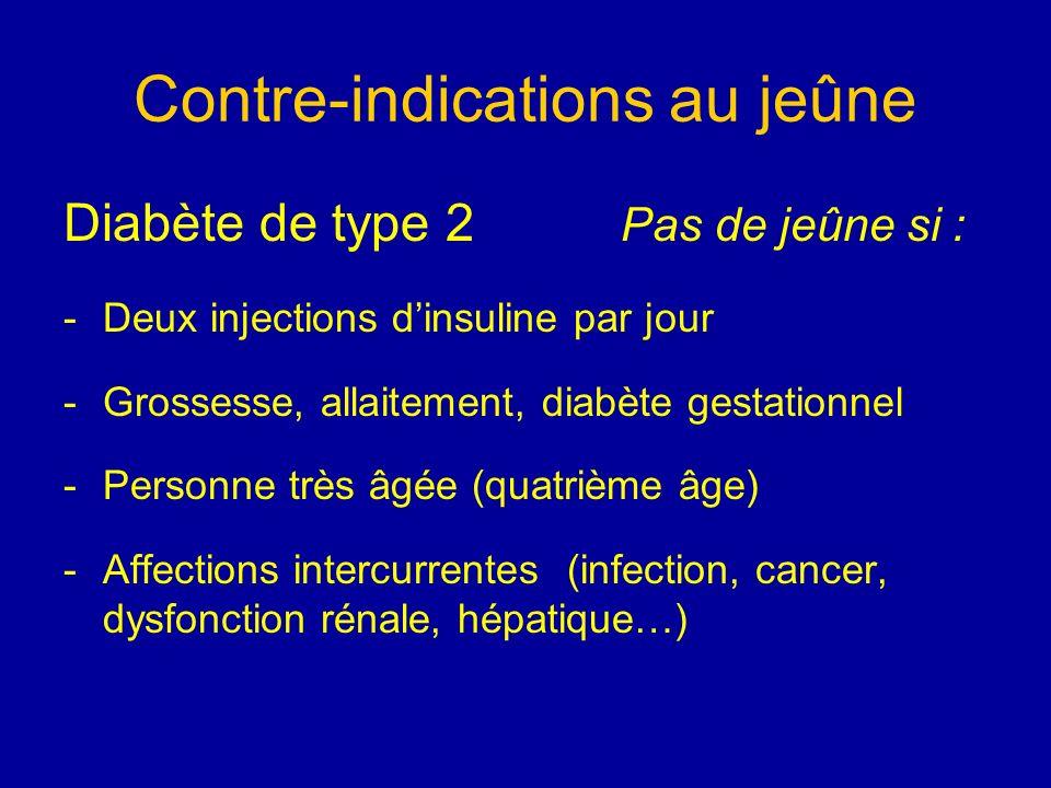 Contre-indications au jeûne Diabète de type 2 Pas de jeûne si : -Deux injections dinsuline par jour -Grossesse, allaitement, diabète gestationnel -Per