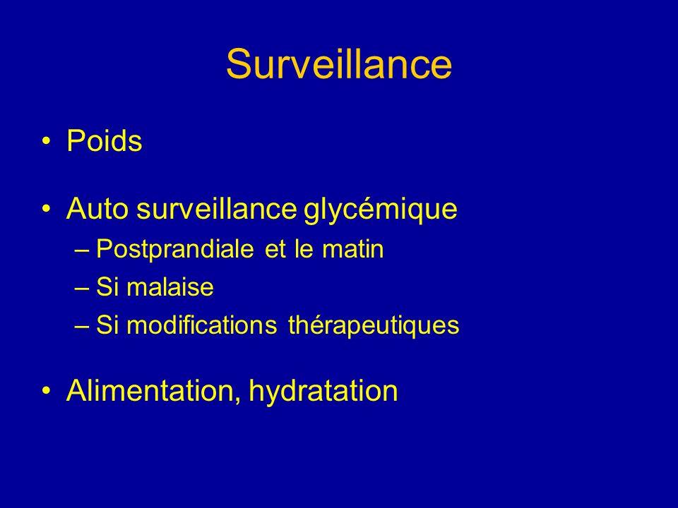 Surveillance Poids Auto surveillance glycémique –Postprandiale et le matin –Si malaise –Si modifications thérapeutiques Alimentation, hydratation