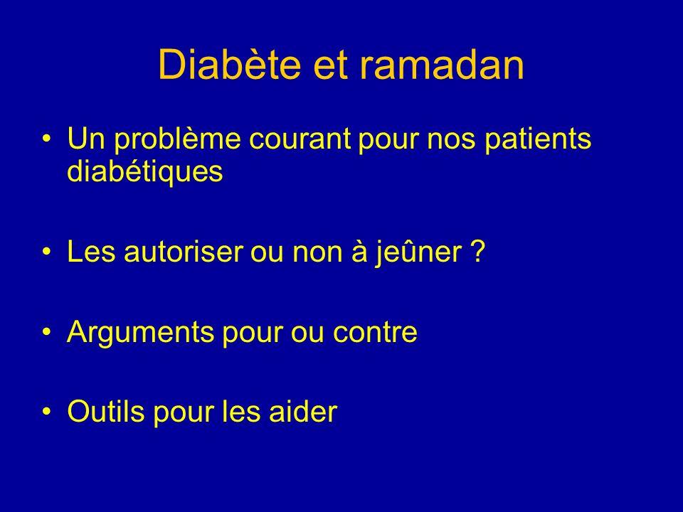 Diabète et ramadan Un problème courant pour nos patients diabétiques Les autoriser ou non à jeûner ? Arguments pour ou contre Outils pour les aider