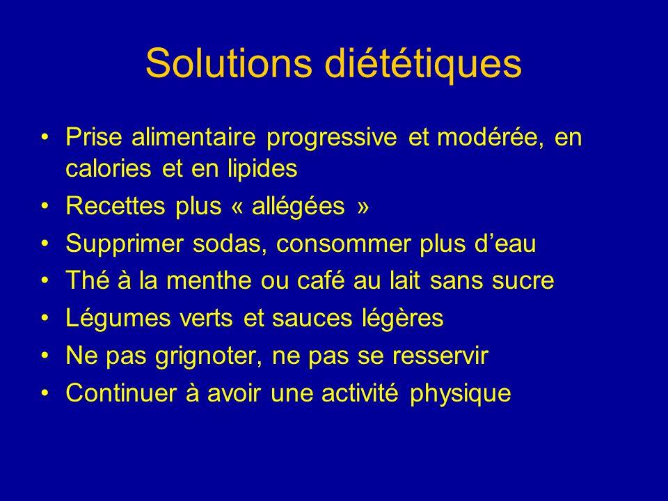 Solutions diététiques Prise alimentaire progressive et modérée, en calories et en lipides Recettes plus « allégées » Supprimer sodas, consommer plus d