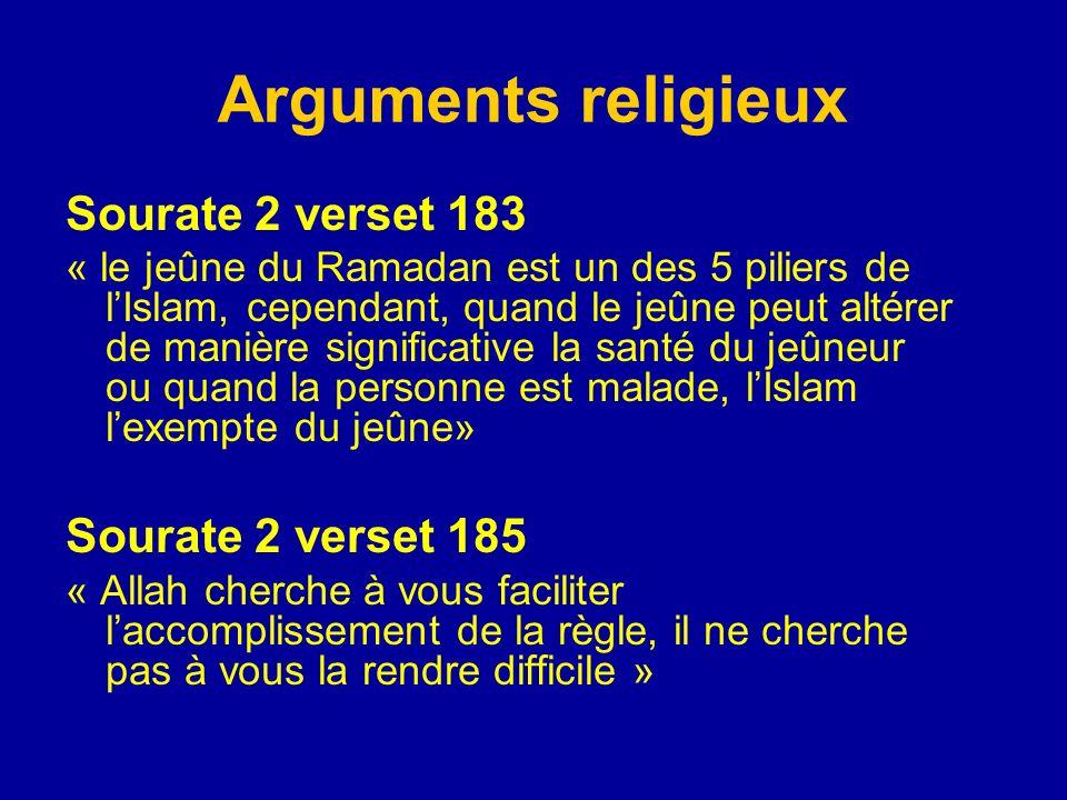 Arguments religieux Sourate 2 verset 183 « le jeûne du Ramadan est un des 5 piliers de lIslam, cependant, quand le jeûne peut altérer de manière signi