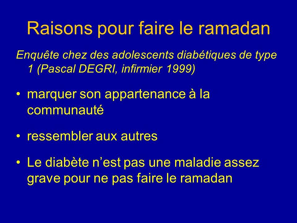 Raisons pour faire le ramadan Enquête chez des adolescents diabétiques de type 1 (Pascal DEGRI, infirmier 1999) marquer son appartenance à la communau
