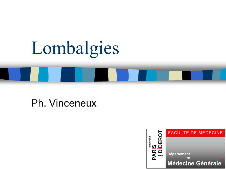 42 Lombalgies : l essentiel n Prise en charge = analyse clinique +++ n 3 situations particulières : –Pas de rachidien : Pathologie extra- rachidienne.