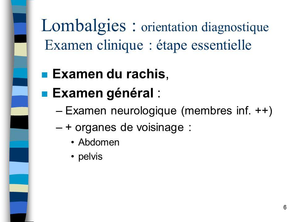 37 Lombalgies chroniques Examens complémentaires n Rx : confirment la clinique (bénignité) –Aide au diagnostic –Risque : attribuer les symptômes à des anomalies non pathologiques –Éviter la multiplication des examens complémentaires….