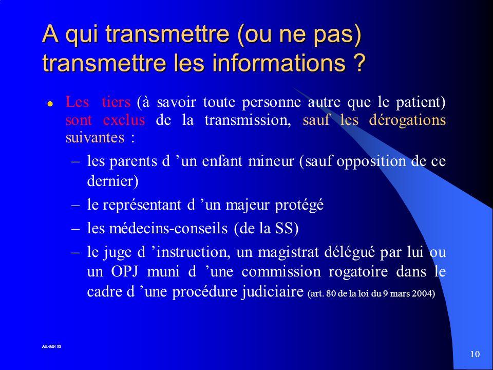 9 AE-MN 08 Communication des informations contenues dans le dossier médical (3) L'ayant droit doit faire sa demande par écrit et en indiquer le motif.