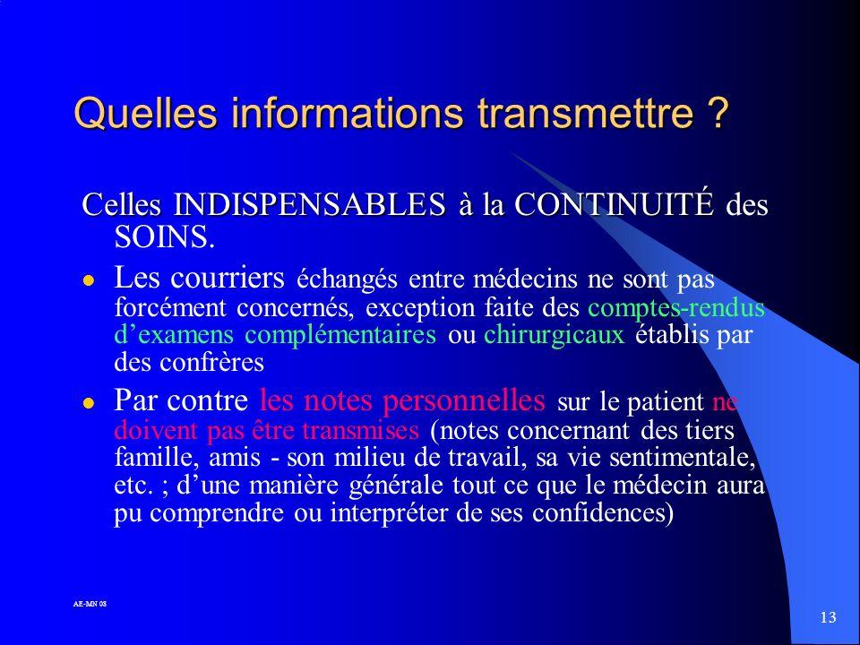 12 AE-MN 08 A qui transmettre (ou ne pas) transmettre les informations ? l En cas de cessation définitive ou transitoire d activité le dossier demeure