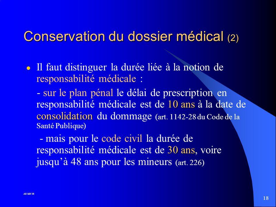 17 AE-MN 08 Conservation du dossier médical (1) médecins « de ville » ! l AUCUN texte ne fixe une durée pour les dossiers établis par les médecins « d