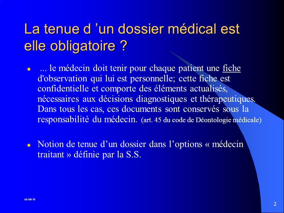 22 AE-MN 08 Les fonctions du dossier médical l Aide-mémoire l Support de la continuité des soins l Instrument de synthèse l Instrument et moyen de communication l Rôle médico-légal