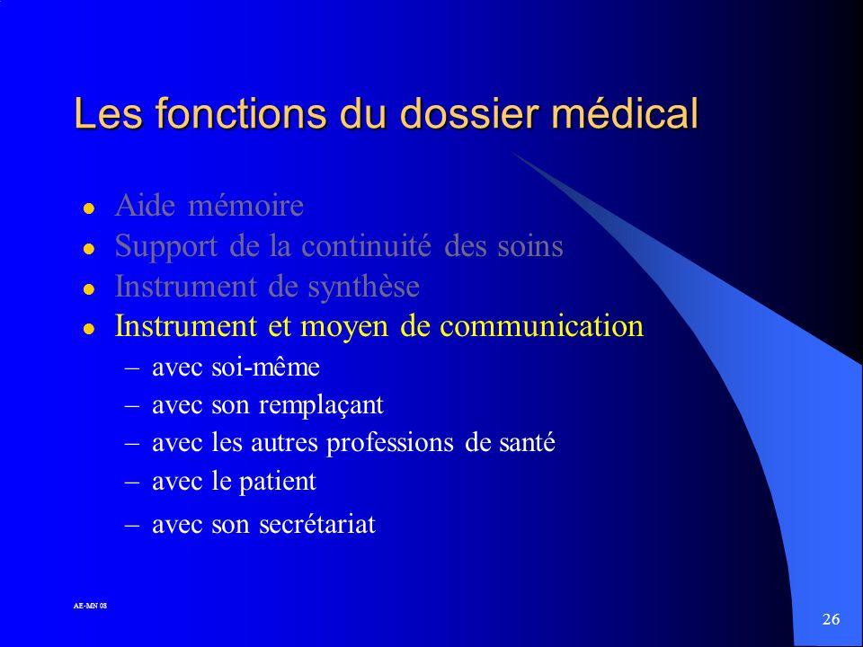 25 AE-MN 08 Les fonctions du dossier médical l Aide mémoire l Support de la continuité des soins l Instrument de synthèse => ne se résume pas à collig