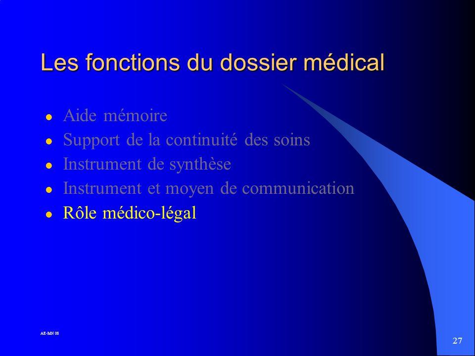 26 AE-MN 08 Les fonctions du dossier médical l Aide mémoire l Support de la continuité des soins l Instrument de synthèse l Instrument et moyen de com
