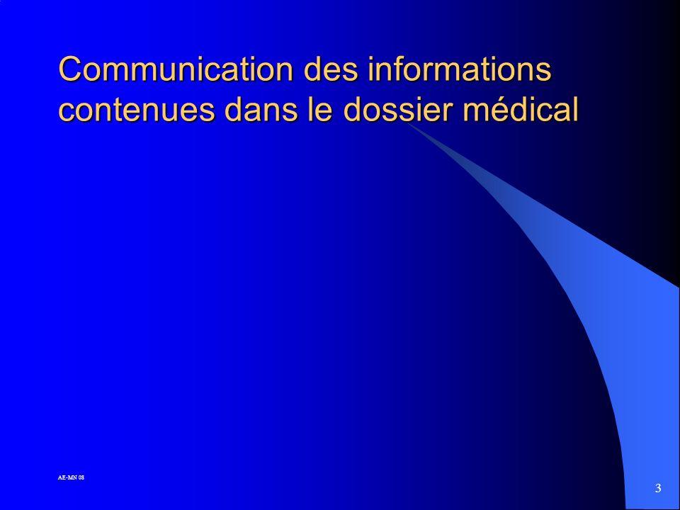 3 Communication des informations contenues dans le dossier médical