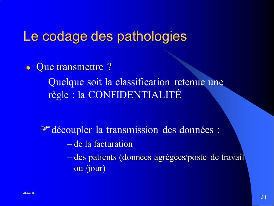 30 AE-MN 08 Le codage des pathologies l Comment ? les classifications : les classifications : - CIM 10 - CISP-2 - Dictionnaire de la SFMG - …