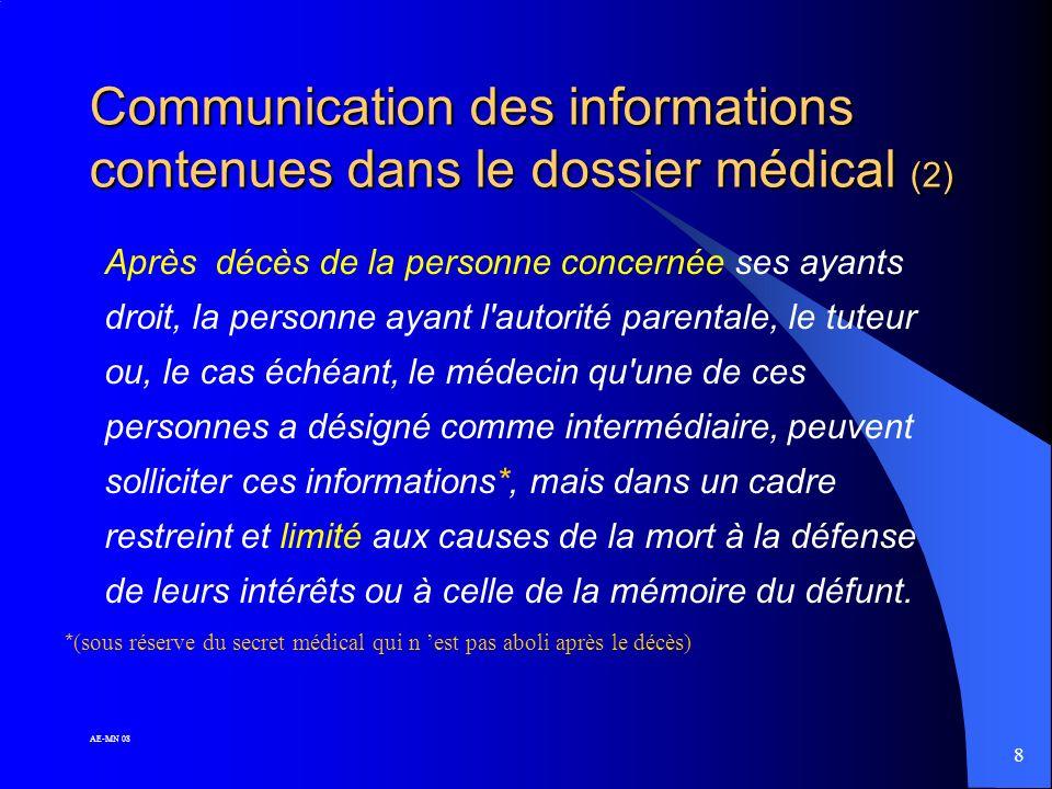 7 AE-MN 08 Communication des informations contenues dans le dossier médical (1) Le patient peut, de son vivant, avoir accès aux informations le concer