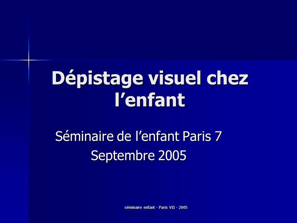 séminaire enfant - Paris VII - 2005 Dépistage visuel chez lenfant Séminaire de lenfant Paris 7 Septembre 2005