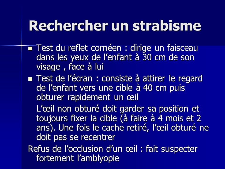Rechercher un strabisme Test du reflet cornéen : dirige un faisceau dans les yeux de lenfant à 30 cm de son visage, face à lui Test du reflet cornéen
