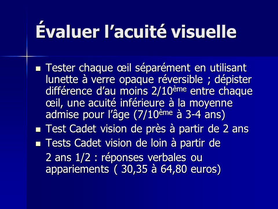 Évaluer lacuité visuelle Tester chaque œil séparément en utilisant lunette à verre opaque réversible ; dépister différence dau moins 2/10 ème entre ch