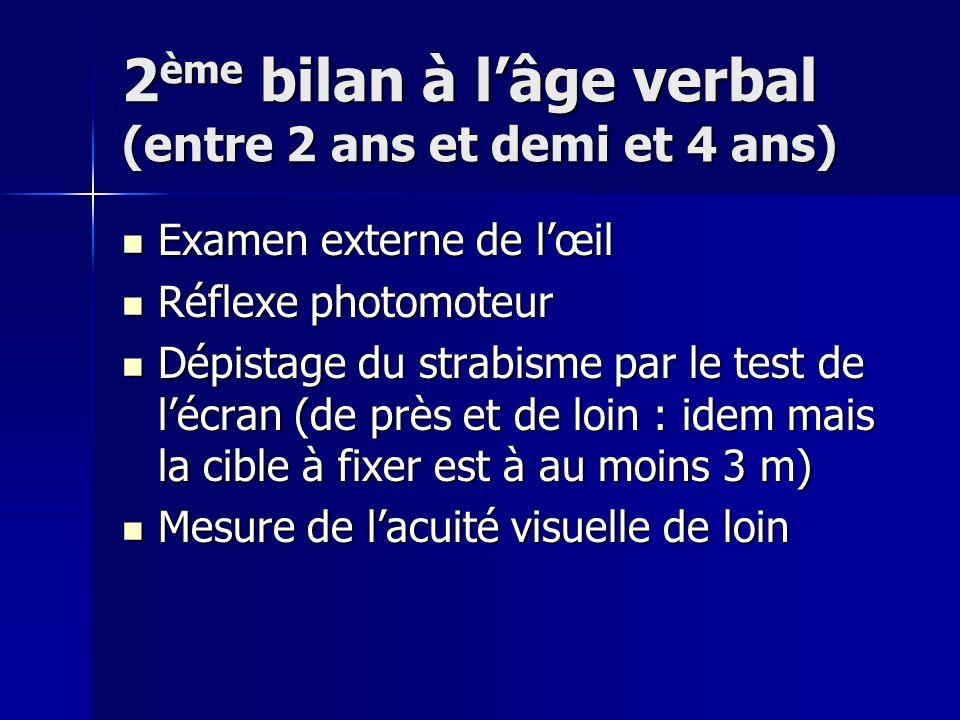 2 ème bilan à lâge verbal (entre 2 ans et demi et 4 ans) Examen externe de lœil Examen externe de lœil Réflexe photomoteur Réflexe photomoteur Dépista