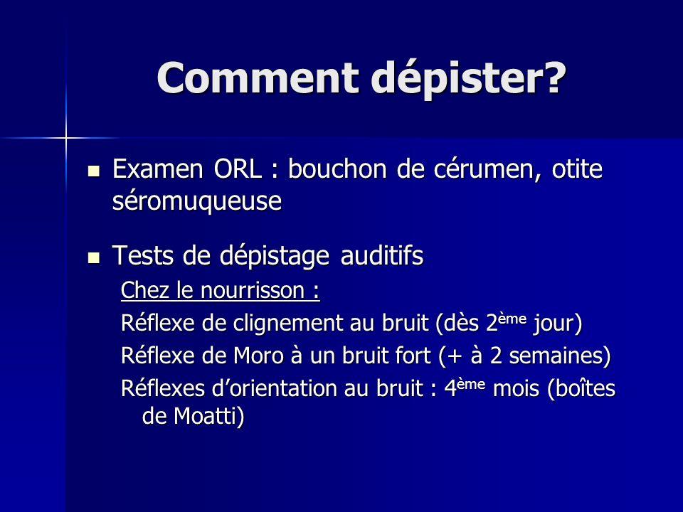 Comment dépister? Examen ORL : bouchon de cérumen, otite séromuqueuse Examen ORL : bouchon de cérumen, otite séromuqueuse Tests de dépistage auditifs