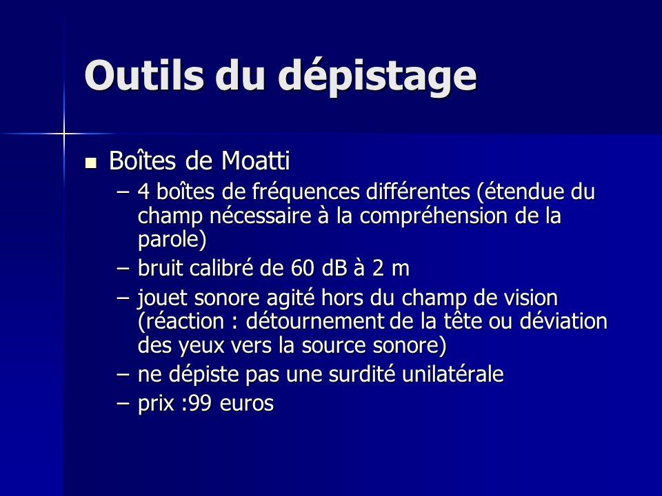 Outils du dépistage Boîtes de Moatti Boîtes de Moatti –4 boîtes de fréquences différentes (étendue du champ nécessaire à la compréhension de la parole