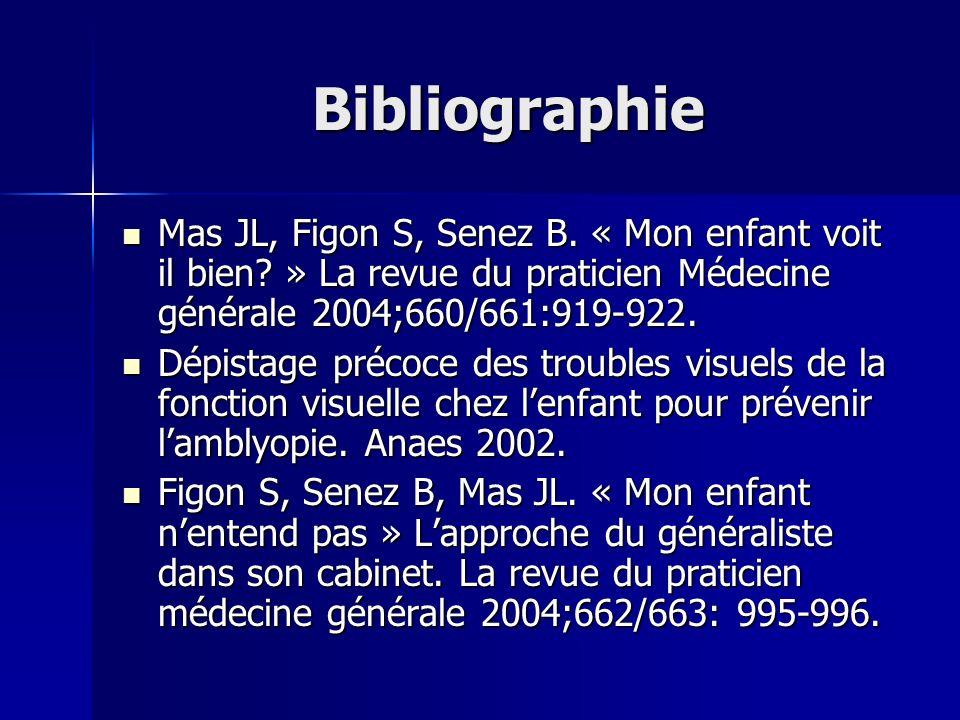 Bibliographie Mas JL, Figon S, Senez B. « Mon enfant voit il bien? » La revue du praticien Médecine générale 2004;660/661:919-922. Mas JL, Figon S, Se