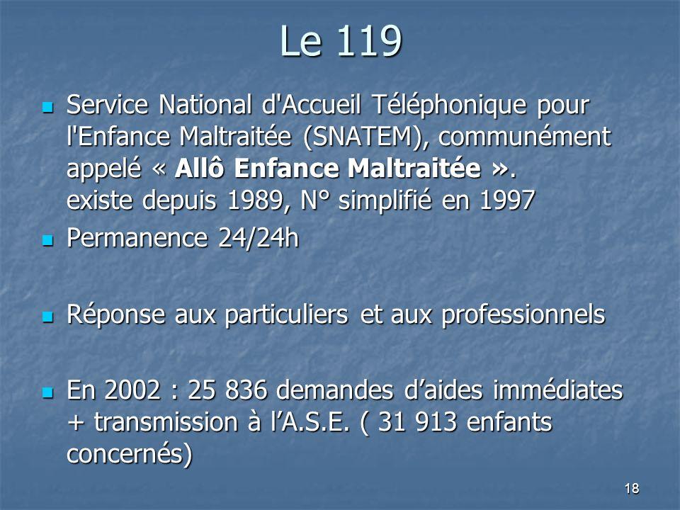 18 Le 119 Service National d'Accueil Téléphonique pour l'Enfance Maltraitée (SNATEM), communément appelé « Allô Enfance Maltraitée ». existe depuis 19