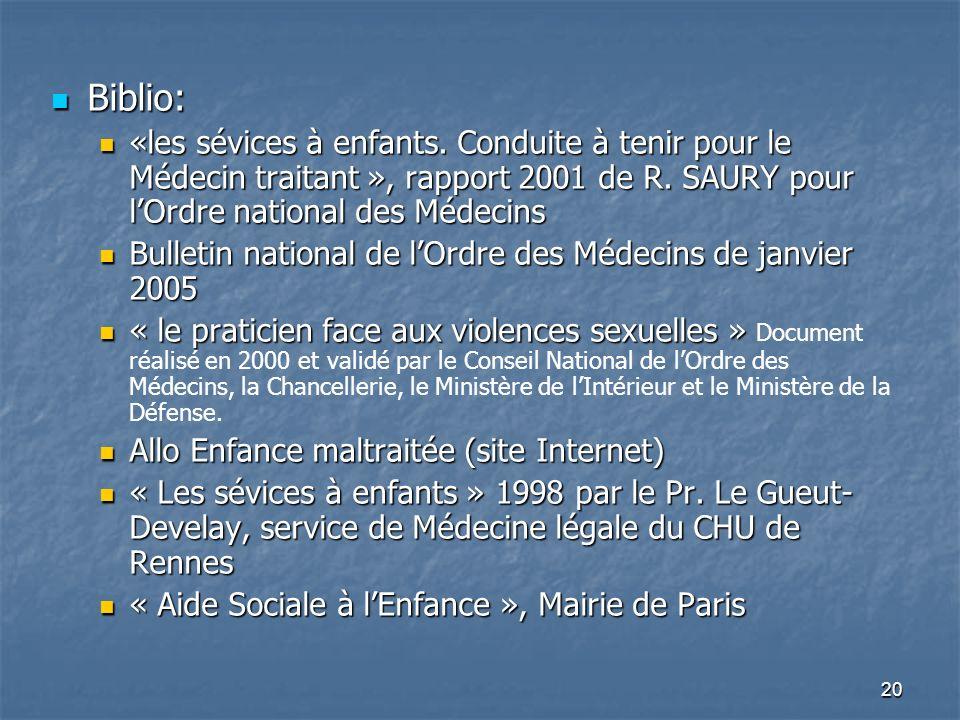 20 Biblio: Biblio: «les sévices à enfants. Conduite à tenir pour le Médecin traitant », rapport 2001 de R. SAURY pour lOrdre national des Médecins «le