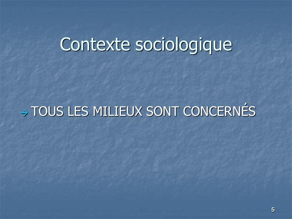 5 Contexte sociologique TOUS LES MILIEUX SONT CONCERNÉS TOUS LES MILIEUX SONT CONCERNÉS