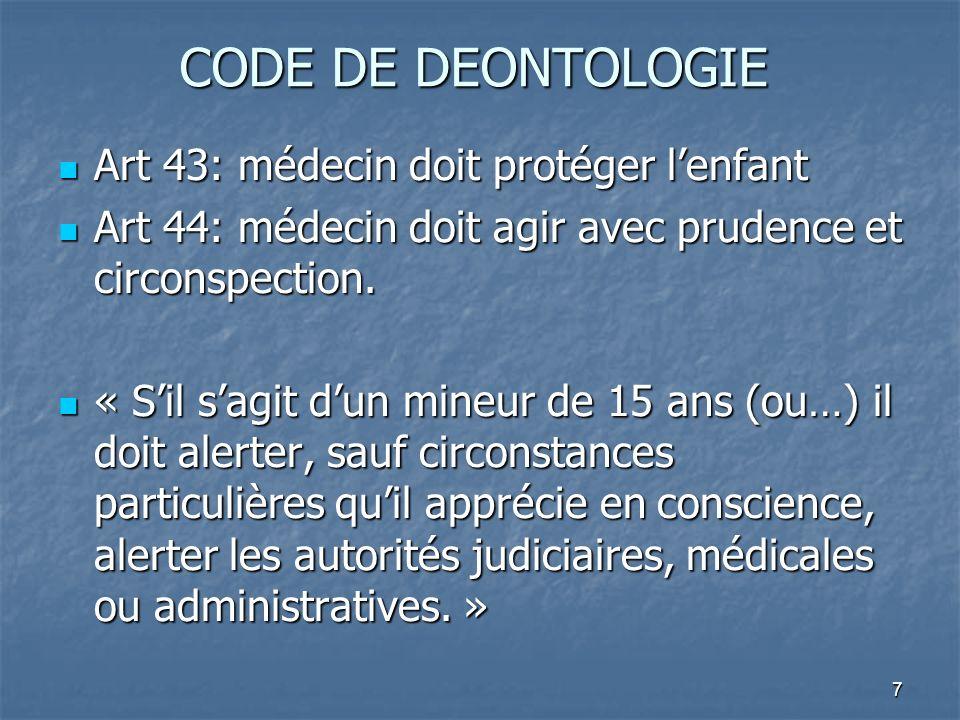 7 CODE DE DEONTOLOGIE Art 43: médecin doit protéger lenfant Art 43: médecin doit protéger lenfant Art 44: médecin doit agir avec prudence et circonspe