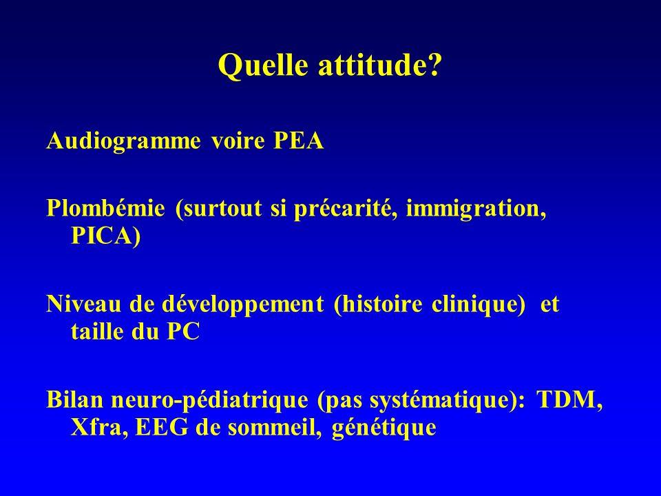 Quelle attitude? Audiogramme voire PEA Plombémie (surtout si précarité, immigration, PICA) Niveau de développement (histoire clinique) et taille du PC